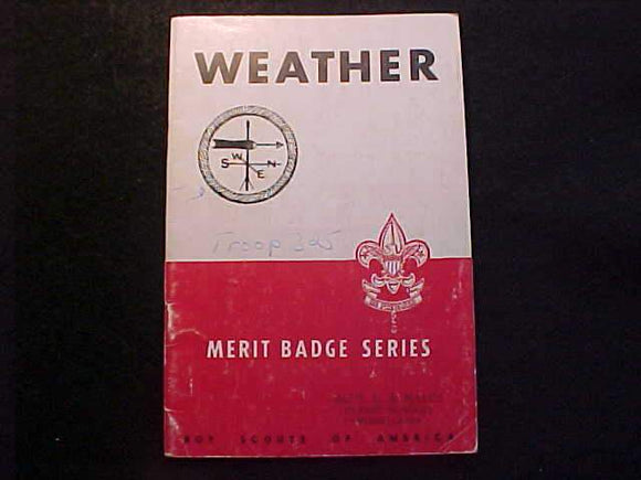 WEATHER MERIT BADGE BOOK, TYPE 5B COVER, COPYRIGHT 1943, MARCH 1947 PRINTING, GOOD COND.