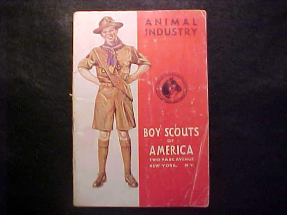 ANIMAL INDUSTRY MERIT BADGE BOOK, TYPE 4 COVER, COPYRIGHT 1944, MARCH 1944 PRINTNG FAIR COND.
