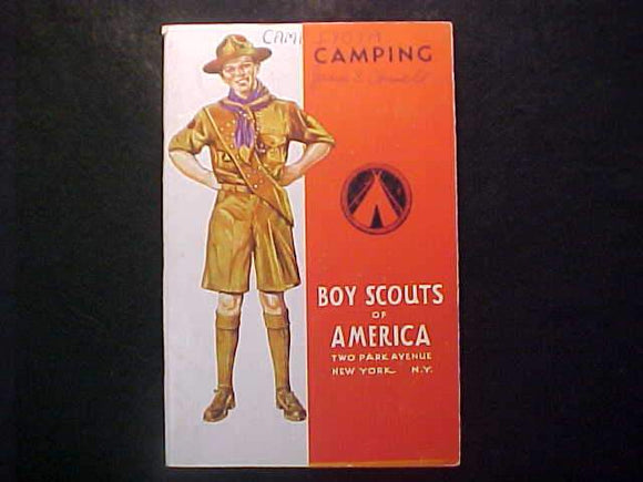 CAMPING MERIT BADGE BOOK, TYPE 4 COVER, COPYRIGHT 1930, NOV. 1940 PRINTNG V. GOOD COND.