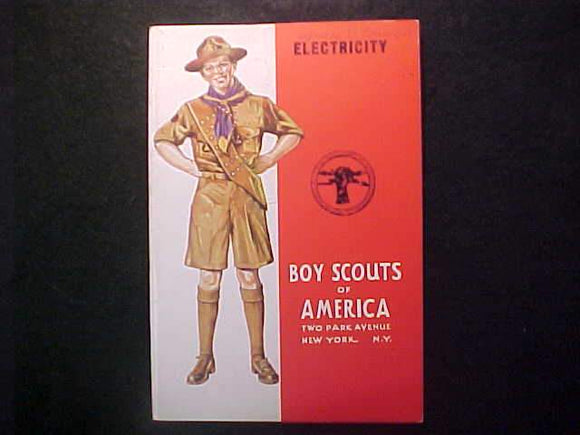 ELECTRICITY MERIT BADGE BOOK, TYPE 4 COVER, COPYRIGHT 1940, MAY 1944 PRINTNG, EXCELLENT COND.