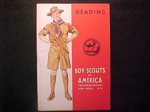 READING MERIT BADGE BOOK, TYPE 4 COVER, COPYRIGHT 1940, MARCH 1943 PRINTNG, V. GOOD COND.