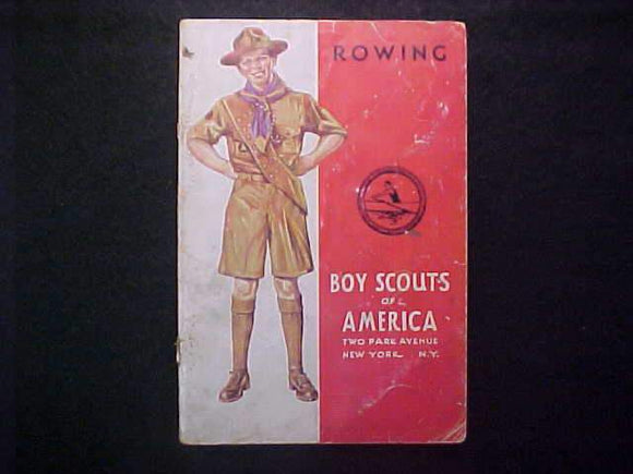 ROWING MERIT BADGE BOOK, TYPE 4 COVER, COPYRIGHT 1939, AUG. 1942 PRINTNG, FAIR COND.
