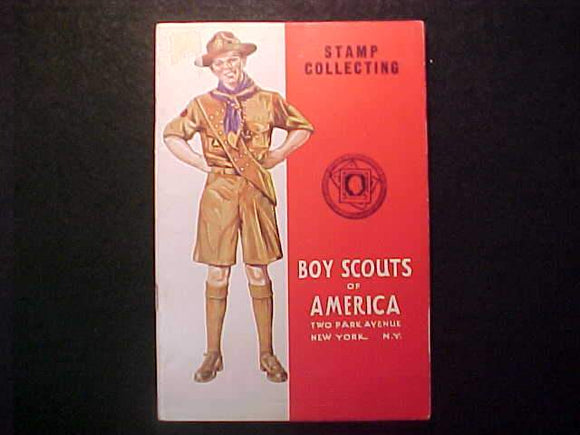 STAMP COLLECTING MERIT BADGE BOOK, TYPE 4 COVER, COPYRIGHT 1931, MARCH 1943 PRINTNG, EXCELLENT COND.