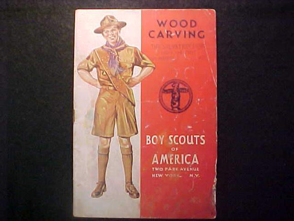 WOOD CARVING MERIT BADGE BOOK, TYPE 4 COVER, COPYRIGHT 1937, FEB. 1943 PRINTNG, FAIR COND.-TORN PAGES