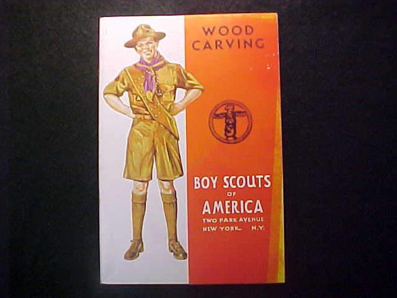 WOOD CARVING MERIT BADGE BOOK, TYPE 4 COVER, COPYRIGHT 1937, FEB. 1942 PRINTNG, EXCELLENT COND.