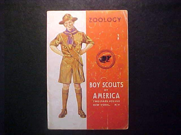 ZOOLOGY MERIT BADGE BOOK, TYPE 4 COVER, COPYRIGHT 1941, JUNE 1941 PRINTNG, GOOD COND.