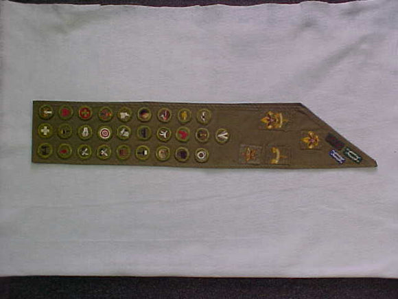 MERIT BADGE SASH, 1940'S-50'S, FULL SQUARE RANK PATCHES