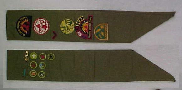 MERIT BADGE SASH, 1950'S, 7 MERIT BADGES