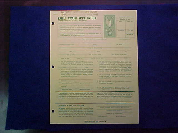 EAGLE AWARD APPLICATION (IMPROVED SCOUTING METHOD), 10/1973 PRINTING