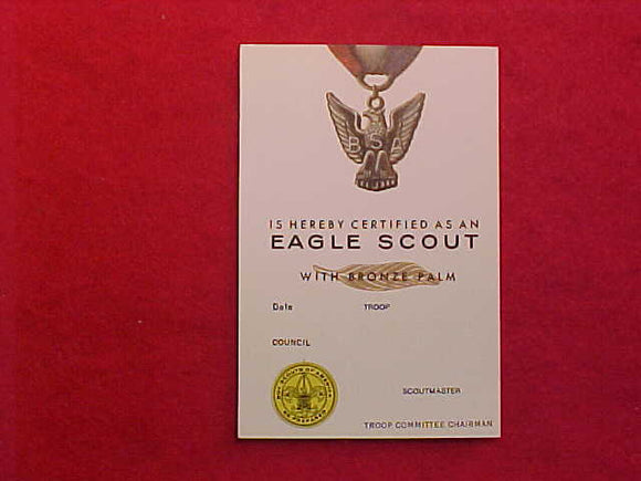 EAGLE SCOUT POCKET CARD, BRONZE PALM, 1/1974 PRINTING