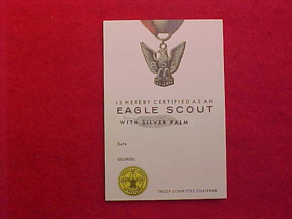 EAGLE SCOUT POCKET CARD, SILVER PALM, 7/1973 PRINTING
