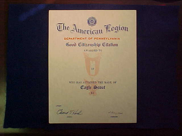 EAGLE SCOUT CITATION, GOOD CITIZENSHIP, AMERICAN LEGION DEPT OF PENNSYLVANIA, BLANK