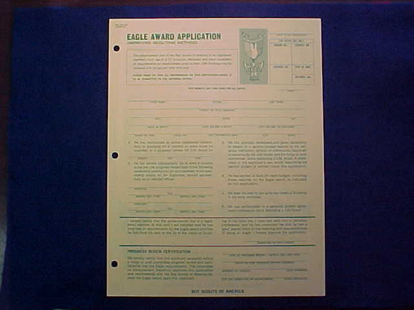 EAGLE AWARD APPLICATION (IMPROVED SCOUTING METHOD), 6/1972 PRINTING