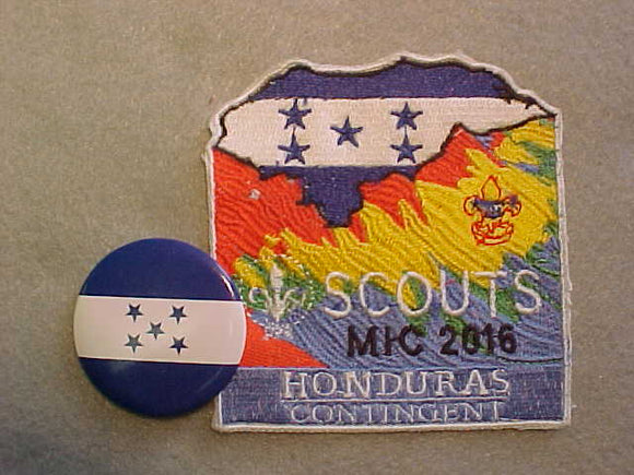 2016 MICHIGAN INTERNATIONAL CAMPOREE PATCH AND PIN, HONDURAS CONTINGENT