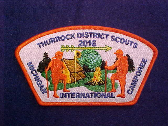 2016 MICHIGAN INTERNATIONAL CAMPOREE SHOULDER PATCH, THURROCK DISTRICT SCOUTS (U.K.)