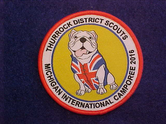 2016 MICHIGAN INTERNATIONAL CAMPOREE PATCH, THURROCK, UK DISTRICT SCOUTS