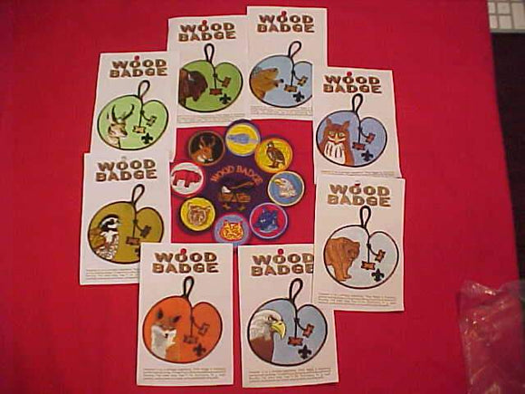 WOOD BADGE PATROL POCKET PATCHES, 8 DIFFERENT + JACKET PATCH