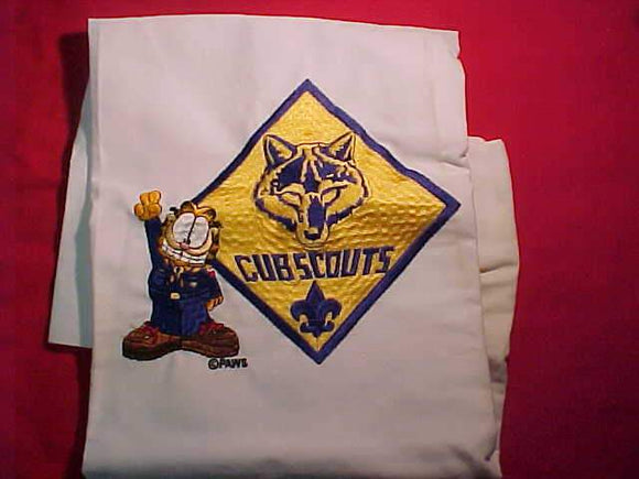 BSA NATIONAL SUPPLY SAMPLE, GARFIELD/CUB SCOUTS LOGO, LARGE PROTOTYPE, EMBROIDERY IS 7X8