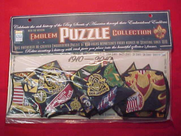 BSA PUZZLE PATCH, 1910-2010, 16 PIECES, MINT IN ORIG. PACKAGE