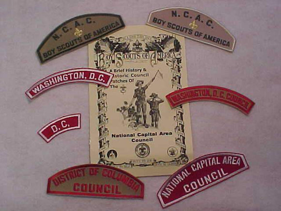 BSA SHOULDER PATCH COLLECTION, NATIONAL CAPITAL AREA C., WASHINGTON D.C., 7 HISTORIC PATCHES + HISTORY BOOKLET