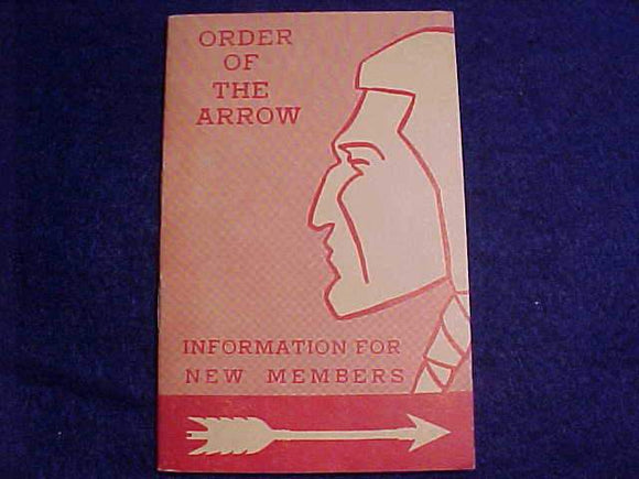 OA BOOKLET, INFORMATION FOR NEW MEMBERS, 5/1954 PRINTING