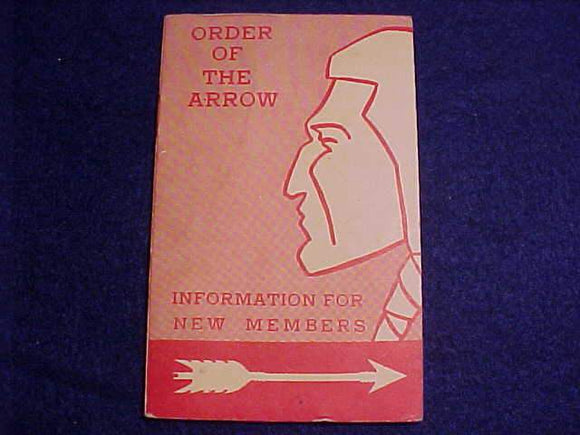 OA BOOKLET, INFORMATION FOR NEW MEMBERS, 4/1959 PRINTING