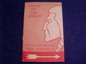 OA BOOKLET, INFORMATION FOR NEW MEMBERS, 10/1961 PRINTING