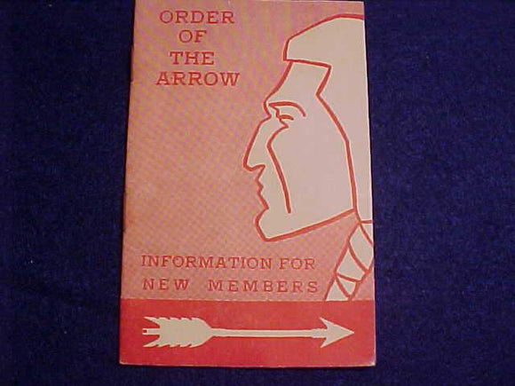 OA BOOKLET, INFORMATION FOR NEW MEMBERS, 10/1962 PRINTING