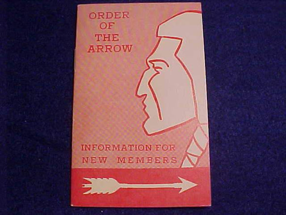 OA BOOKLET, INFORMATION FOR NEW MEMBERS, 10/1963 PRINTING