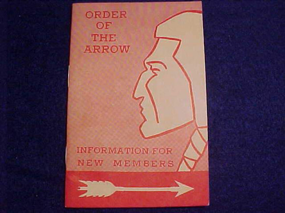 OA BOOKLET, INFORMATION FOR NEW MEMBERS, 8/1964 PRINTING