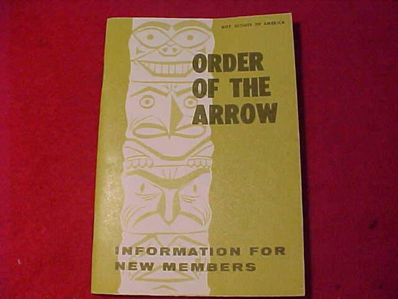 OA BOOKLET, INFORMATION FOR NEW MEMBERS, 3/1968 PRINTING