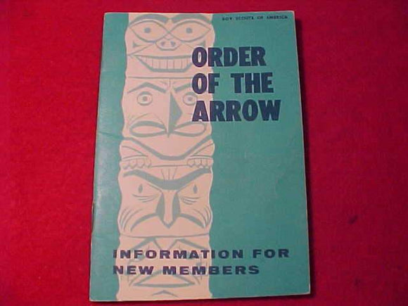 OA BOOKLET, INFORMATION FOR NEW MEMBERS, 4/1969 PRINTING
