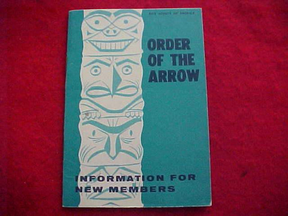 OA BOOKLET, INFORMATION FOR NEW MEMBERS, 10/1972 PRINTING