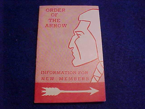 OA BOOKLET, 1960, INFORMATION FOR NEW MEMBERS, PRINTED 4/1960, MINT COND.