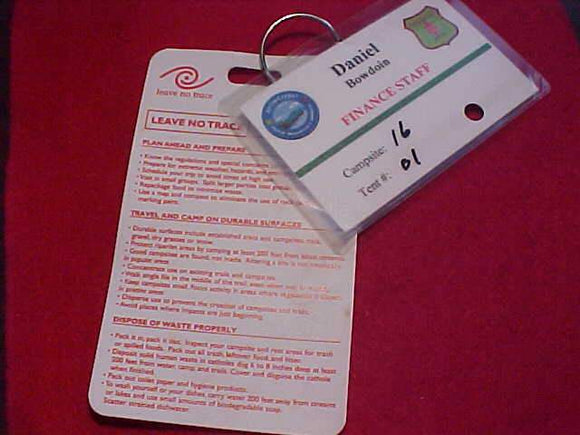 OA CARDS (2), 2008 ARROWCORPS 5, FINANCE STAFF ID CARD & LEAVE NO TRACE CARD