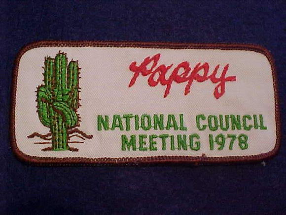 1978 BSA NATIONAL COUNCIL MEETING PATCH,