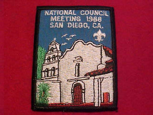 1988 BSA NATIONAL COUNCIL MEETING PATCH, SAN DIEGO, CA.
