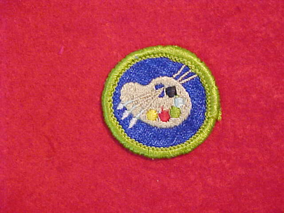 ART, MERIT BADGE WITH CLOTH BACK, GREEN BORDER, 1969-72 ISSUE