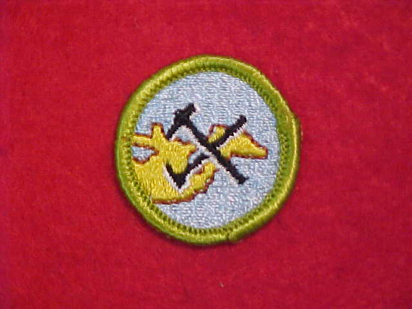 GEOLOGY, MERIT BADGE WITH CLOTH BACK, GREEN BORDER, 1969-72 ISSUE