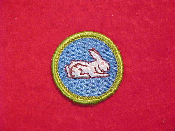 RABBIT RAISING, MERIT BADGE WITH CLOTH BACK, GREEN BORDER, 1969-72 ISSUE
