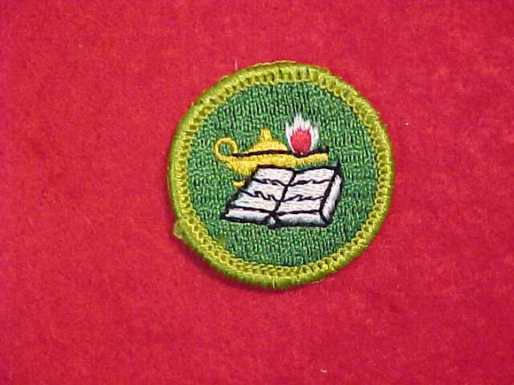 READING, MERIT BADGE WITH CLOTH BACK, GREEN BORDER, 1969-72 ISSUE