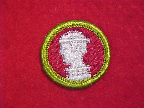 SCULPTURE, MERIT BADGE WITH CLOTH BACK, GREEN BORDER, 1969-72 ISSUE