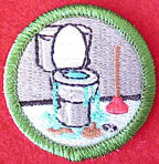toilet clogging spoof merit badge
