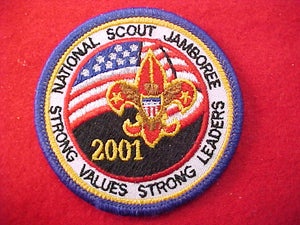 "2001 patch, for use on the accessory bags, 2 13/16"" diameter, mint condition, blue border, rare"