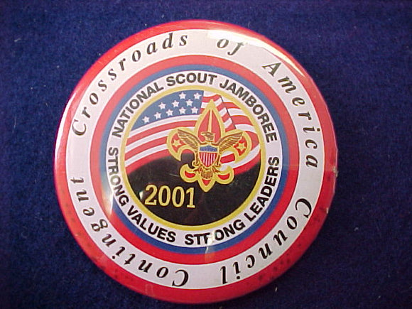 2001 pin back button, crossroads of america, 3