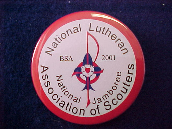 2001 pin back button, national lutheran association of scouters