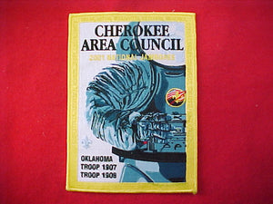 2001 jacket patch, cherokee area council, troop 1907/1908, 5.675x8""