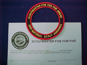 2001 award patch + certificate, scoutmaster five for five award, to be worn around the adult leader pocket patch, rare