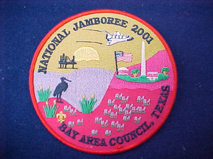 "2001 jacket patch, bay area council, texas, 6"" diameter"