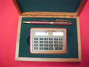 2001 calculator/pen set, laser cut wood box